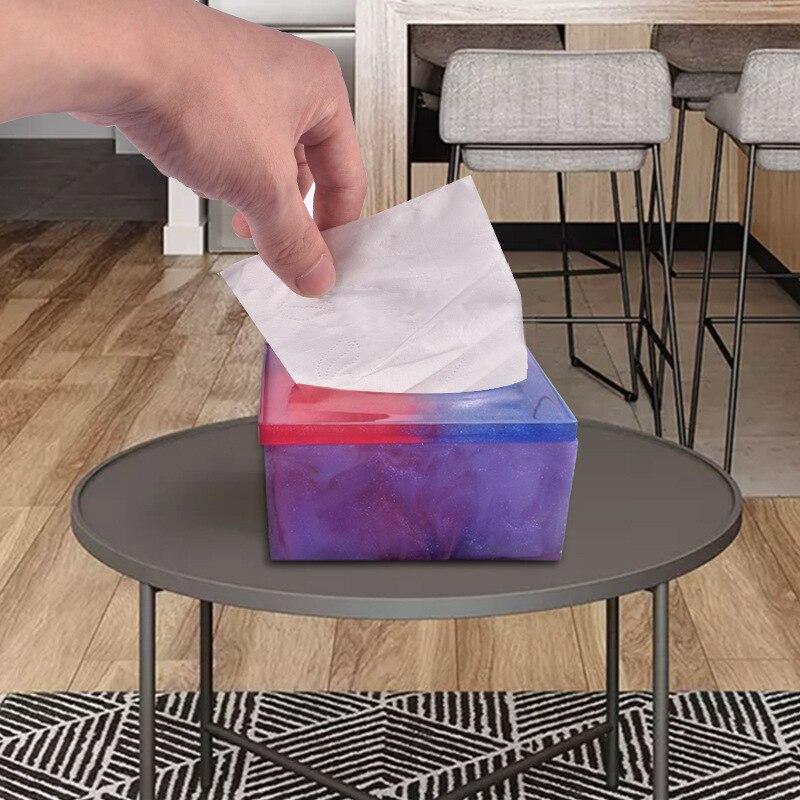Creative DIY Tissue Box Silicone Mold For DIY Craft Home Handmade Storage Box Making Epoxy Resin Molds
