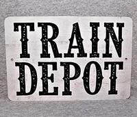 metal sign train depot station railway railroad freight locomotive passenger transport steam engine garage metal signs tin