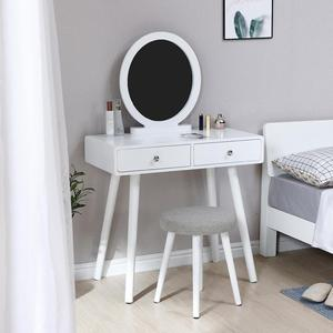 Nordic Retro Storage Dressing Table With Stool Mirror Vanity Makeup Drawers Dimmable Mirrored Dresser Set Home Bedroom Furniture