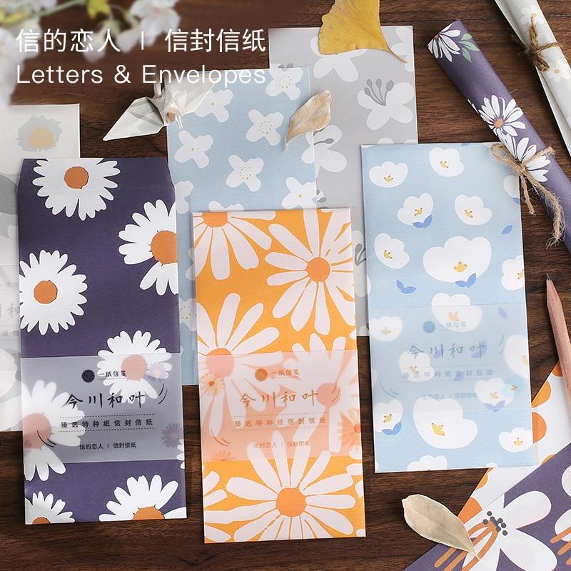 13 Uds sobre Carta Set 12 hoja de carta de papel + 1 hoja sobre Kawaii crisantemo sol flor patrón de papel de carta