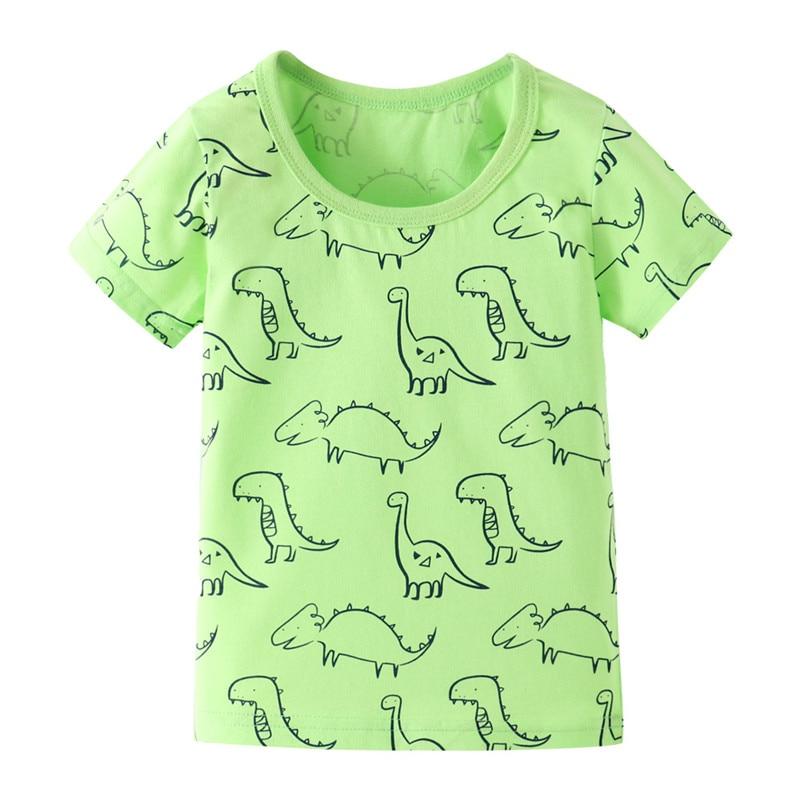 Funnygame, estampado de animal, ropa para bebés, camisetas, Tops para niños, niñas, verano, camisetas de algodón de dibujos animados lindos para niños, camisetas para niñas, Top