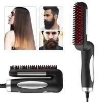 foldable hair straightener brush anti scalding electric fast heating straightening men beard comb short long hair styling tool