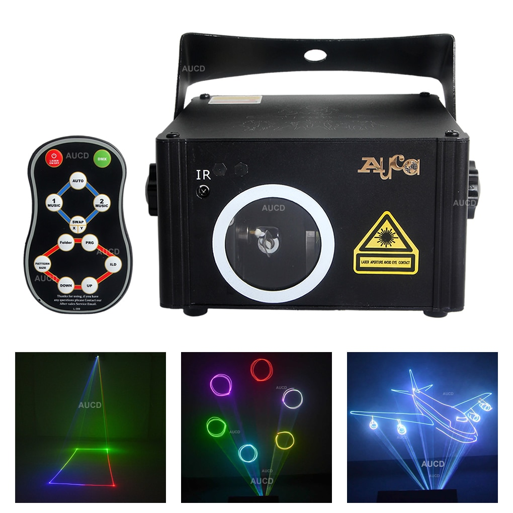 جهاز عرض ليزر مع جهاز تحكم عن بعد ، برنامج تحرير DMX ، مسح الرسوم المتحركة ، RGB ، أضواء الموسيقى ، حفلة الديسكو ، إضاءة المسرح DJ