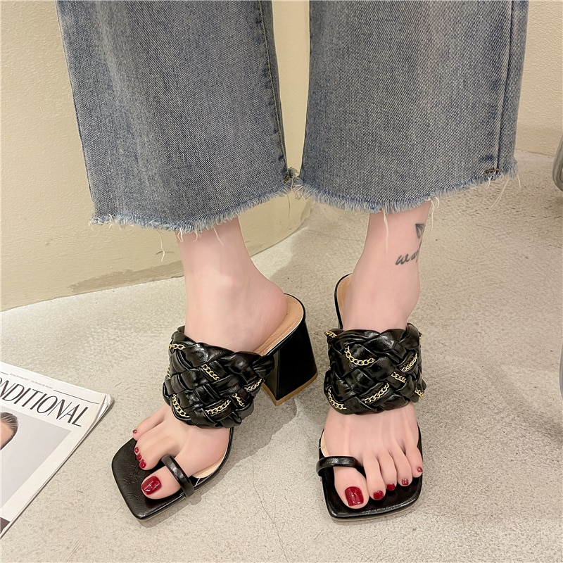 Outdoor fashion women's slippers New summer 2021 weave Sandals Pinch toe sexy high-heeled shoes Model show Super high heels