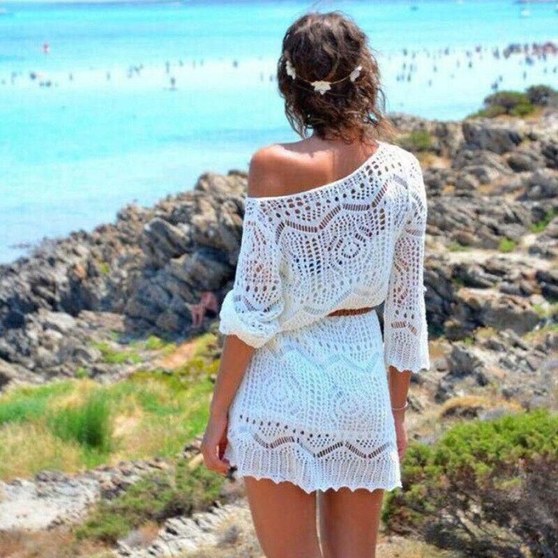 Nueva moda Sexy mujer verano encaje Crochet Bikini cubrir traje de baño playa vestido Tops