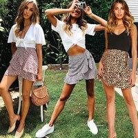 multi dot print short mini skirts women summer ruffle high waist bow tie skirt ladies streetwear slim bottoms 2019