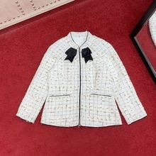 Filo doro tessuto 2020 tweed dellarco del collare del basamento del rivestimento sottile delle donne Eleganti dei vestiti fodera di seta