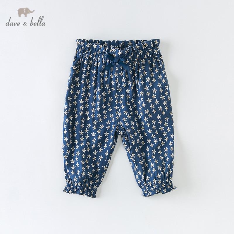 DBM13815 dave bella summer baby girl pants children full length kids print pants infant toddler trousers