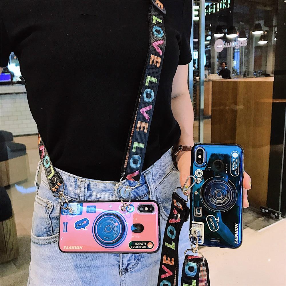 Retro 3D Camera phone case For Samsung Galaxy A10 A20E A30 A40 A50 A60 A70 A80 A90 5G A71 A51 Stand Holder Lanyard Silicon cases