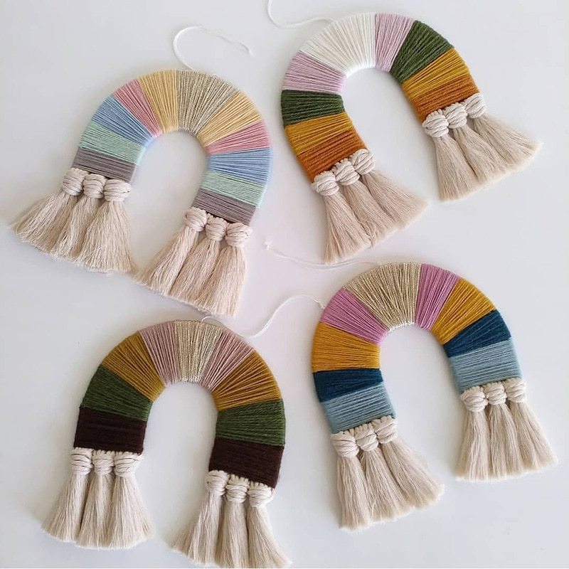 Macrame regenbogen hand-woven hängende dekoration hängen kinder zimmer wandteppich hängen mexikanische party