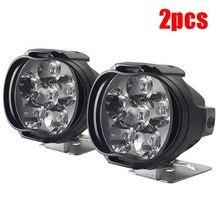 2Pcs 6 LED ไฟหน้าสำหรับรถจักรยานยนต์ Spotlights หลอดไฟรถ6LED เสริมความสว่างไฟฟ้ารถ