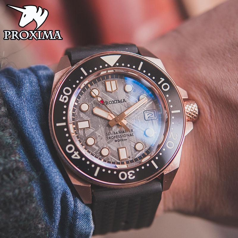 بروكسيما 2021 قمة جديدة برونزية ساعة ميكانيكية NH35 نيزك مقاوم للماء ساعة ياقوت المعصم ساعة الغوص التلقائي للرجال PX1685