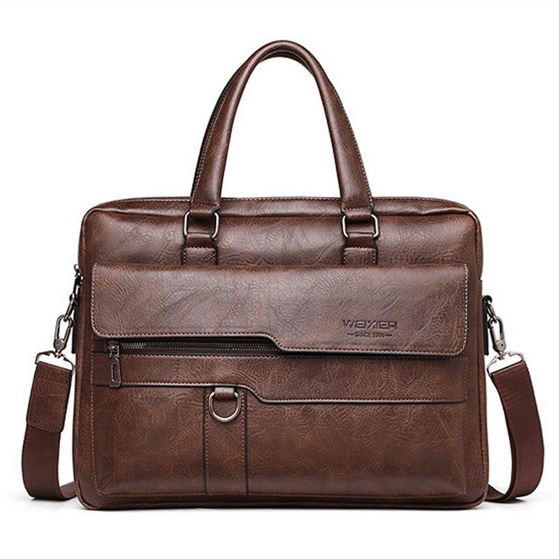 HEFLASHOR hombres maletín bolso de negocios de alta calidad de cuero de marca famosa bolsas de mensajero de hombro Oficina bolso portátil de 13,3 pulgadas