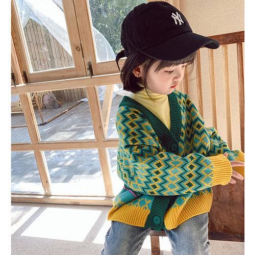 Girls' Knitwear Cardigan 2021 Fall New 1-9 years Girl Baby Children Korean Loose Diamond lattice Fall/Winter Sweater Jacket