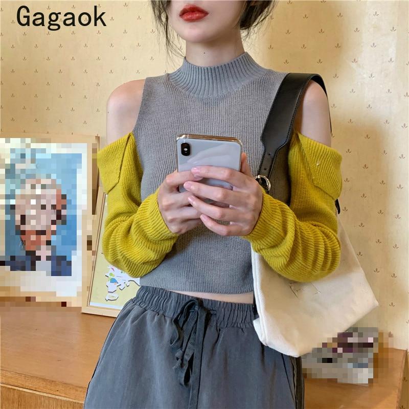 Gagaok streetwear feminino camisola de moda de malha 2020 primavera outono nova gola alta curto retalhos fino selvagem pullovers k3811