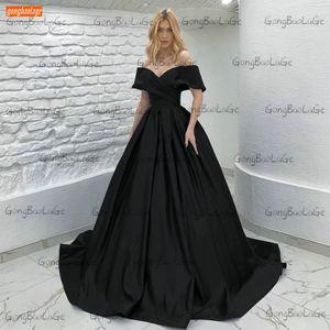 Sexy Satin Evening Dresses Black 2021 Robe De Soirée Femme Custom Made A Line Women Party Gowns Off Shouder Abiye Gece Elbisesi