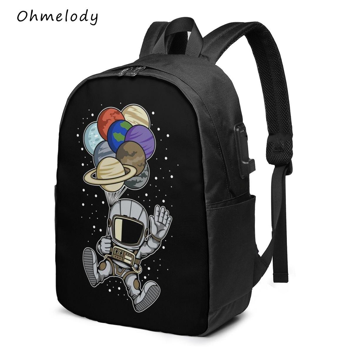 Multipurpose 17in Laptop Backpack Water Resistant Durable Cartoon Astronaut School Bag College Backp
