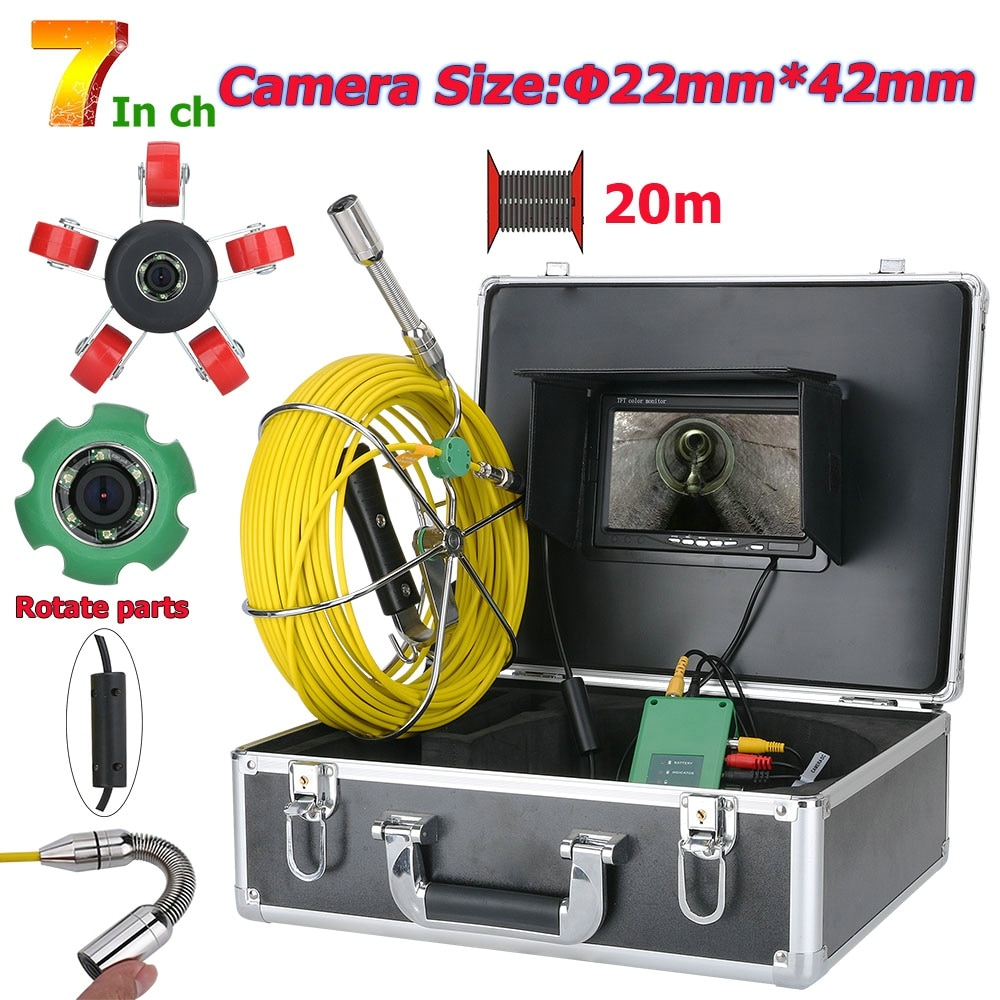 Promo 7 inch 22mm Pipe Inspection Video Camera 20M IP68 Drain Pipe Sewer Inspection Camera System 1000 TVL Camera with 6W LED Lights
