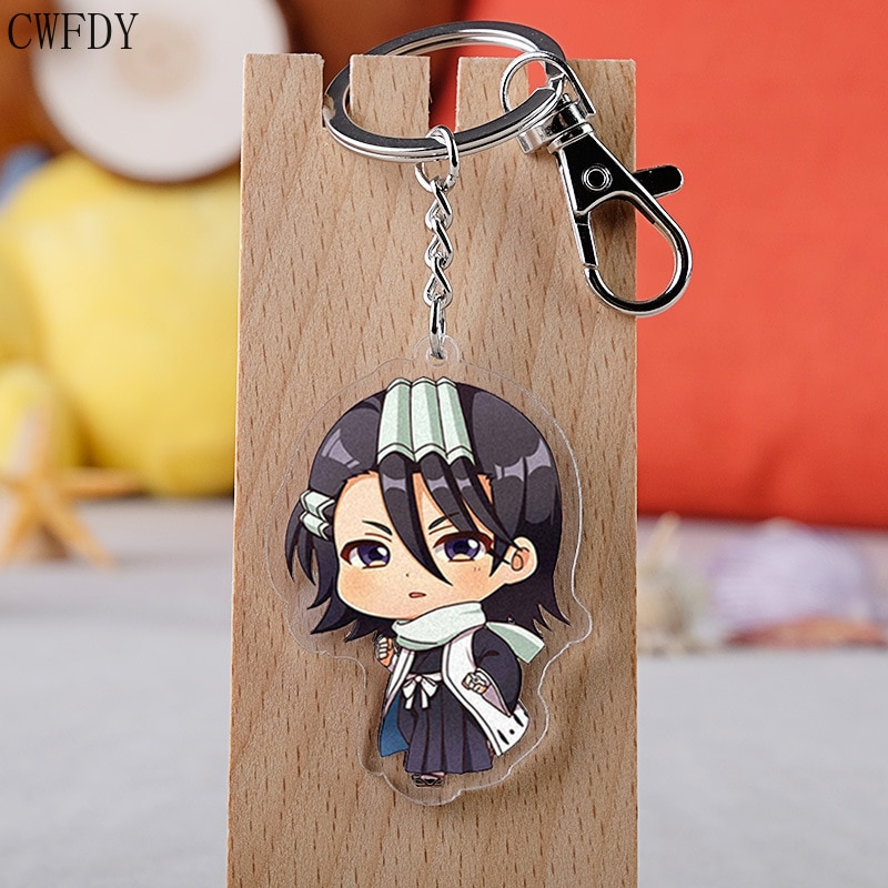 50pcs/lot Anime Bleach Keychain Double Sided Acrylic Keyring Pendant Cosplay Accessories Cartoon Key Chain Jewelry Wholesale
