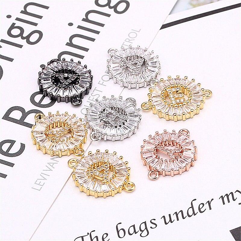 Zirconia cúbica 26 letras encanto pulsera accesorios cobre A-Z cadena inicial nombre pulseras para mujeres joyería ajustable