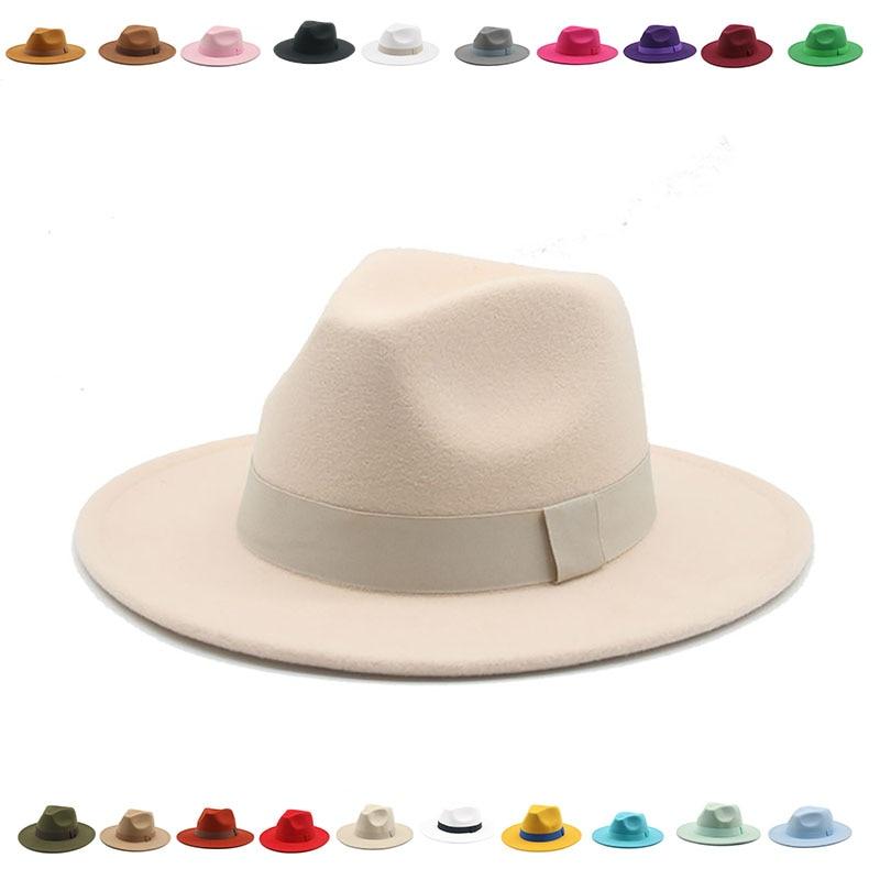 fedora hat women ribbon band men hats wide brim classic beige white wedding church winter men women's hat 2021 new gorras hombre