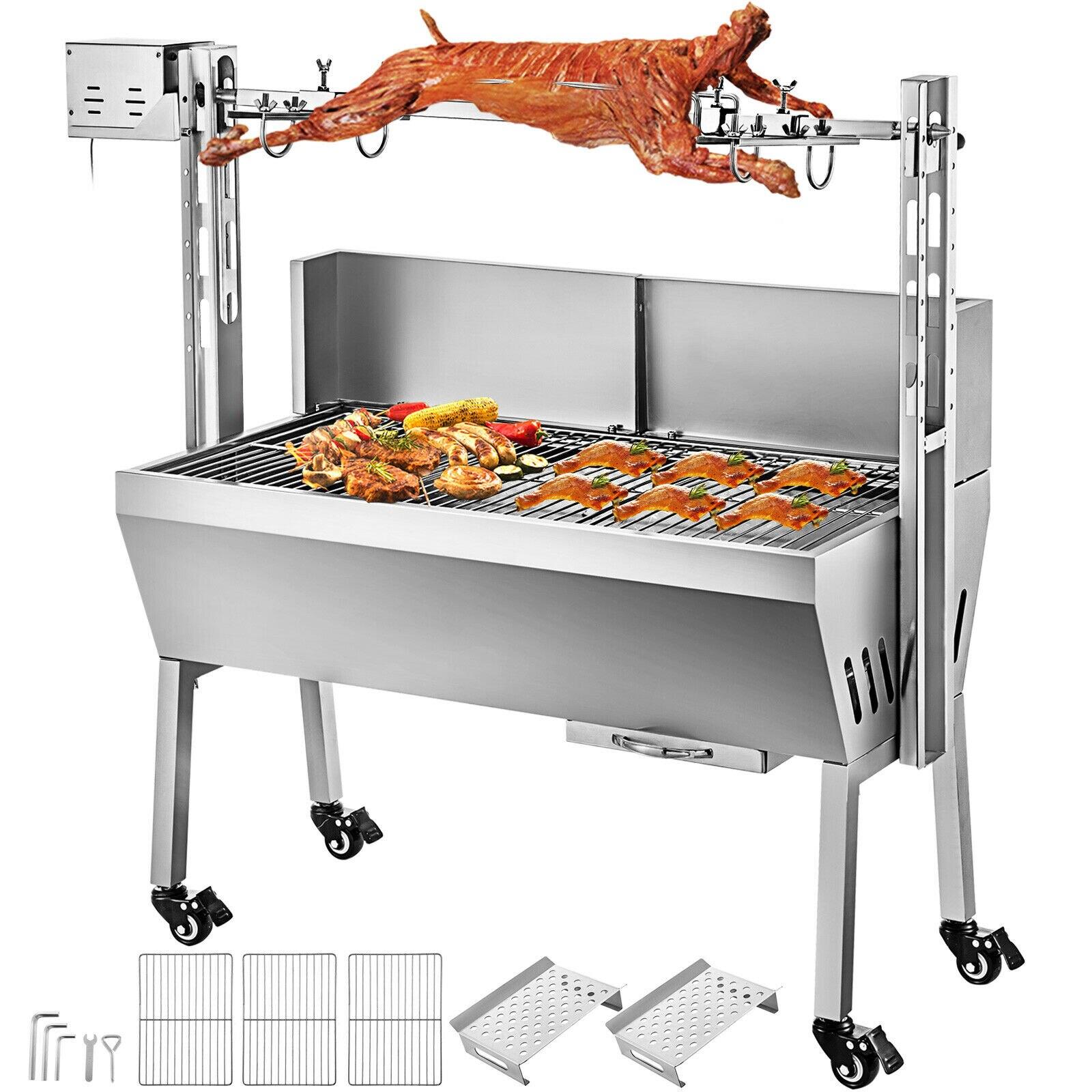 شواية كهربائية للمطبخ من VEVOR شواية من الفولاذ المقاوم للصدأ بدون دخان محمصة خنزير ماعز لنزهة الأنشطة الخارجية