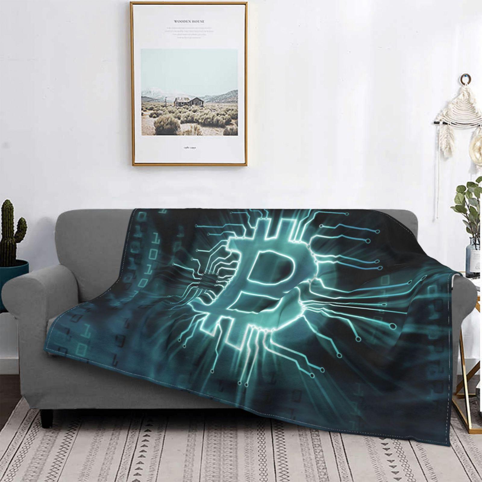 بيتكوين بطانية موضة دافئ المفرش شيربا الصوف النوم بطانية ناعمة ورقيقة