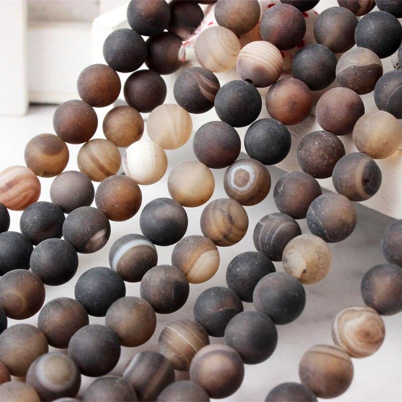 LanLi 天然宝石コーヒーストライプマット agat オニキスラウンドルースビーズ 6 8 10 12 ミリメートル男性と女性ブレスレットネックレスアクセサリー