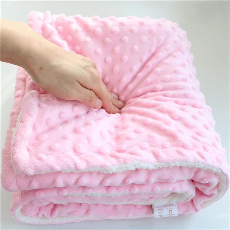 minky dot  sherpa fleece double layers baby blanket newborn receiving blanket kids quilt soft winter plush newborn baby swaddle