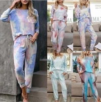2020 autumn and winter womens gradient color pajamas tie dye long sleeve trousers ladies home service two piece suit 9810