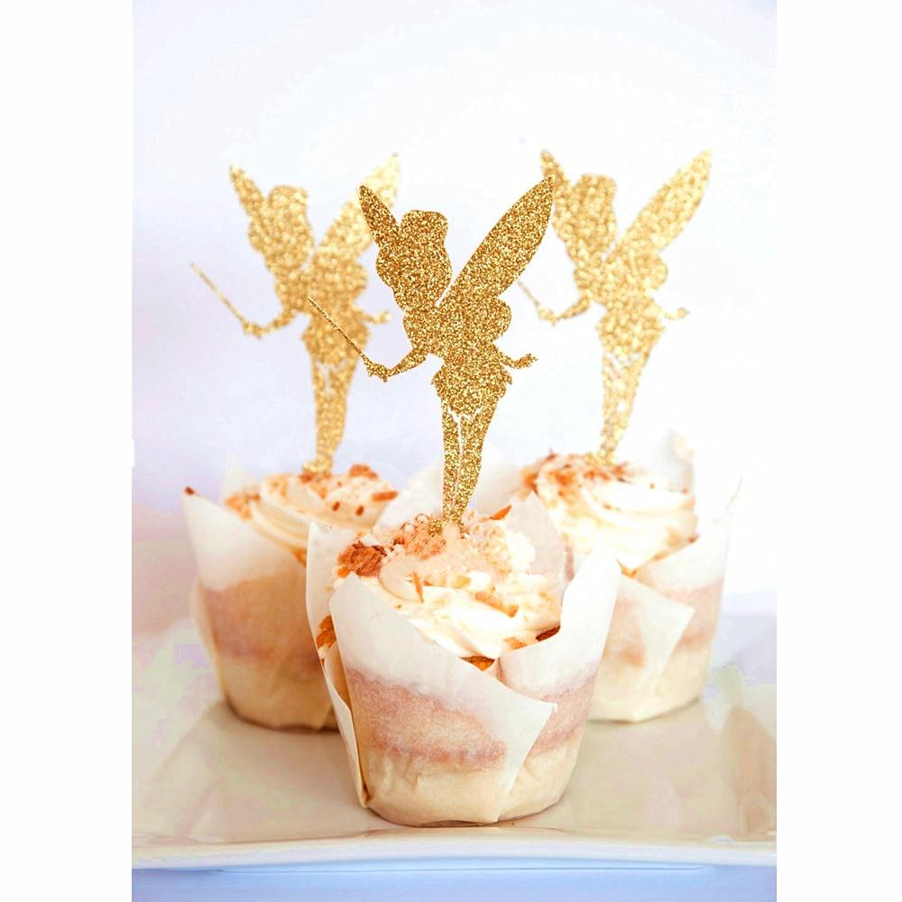 Glitter Paper Angel Fairy Cake Topper Pick Wedding Party Favor Decor Pack of 20