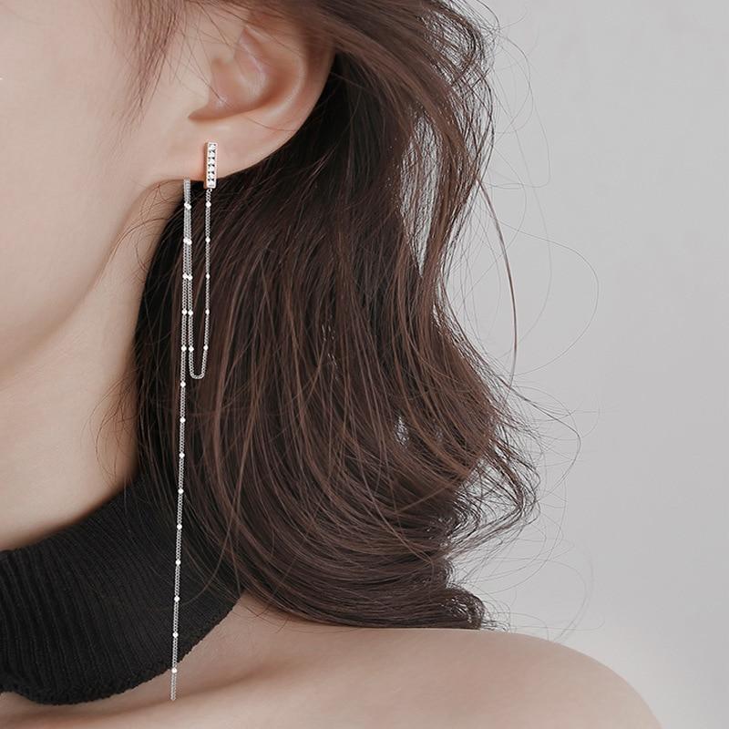 Серьги-женские-Длинные-асимметричные-серебряные-на-длинной-цепочке
