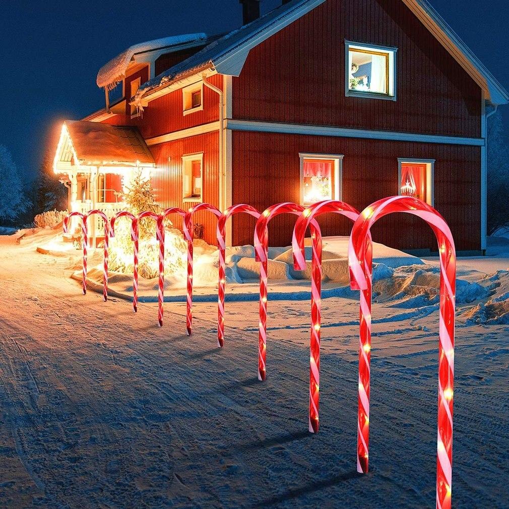 10 pcs led luzes de natal bengala feliz natal caminho passarela luz para casa lampada