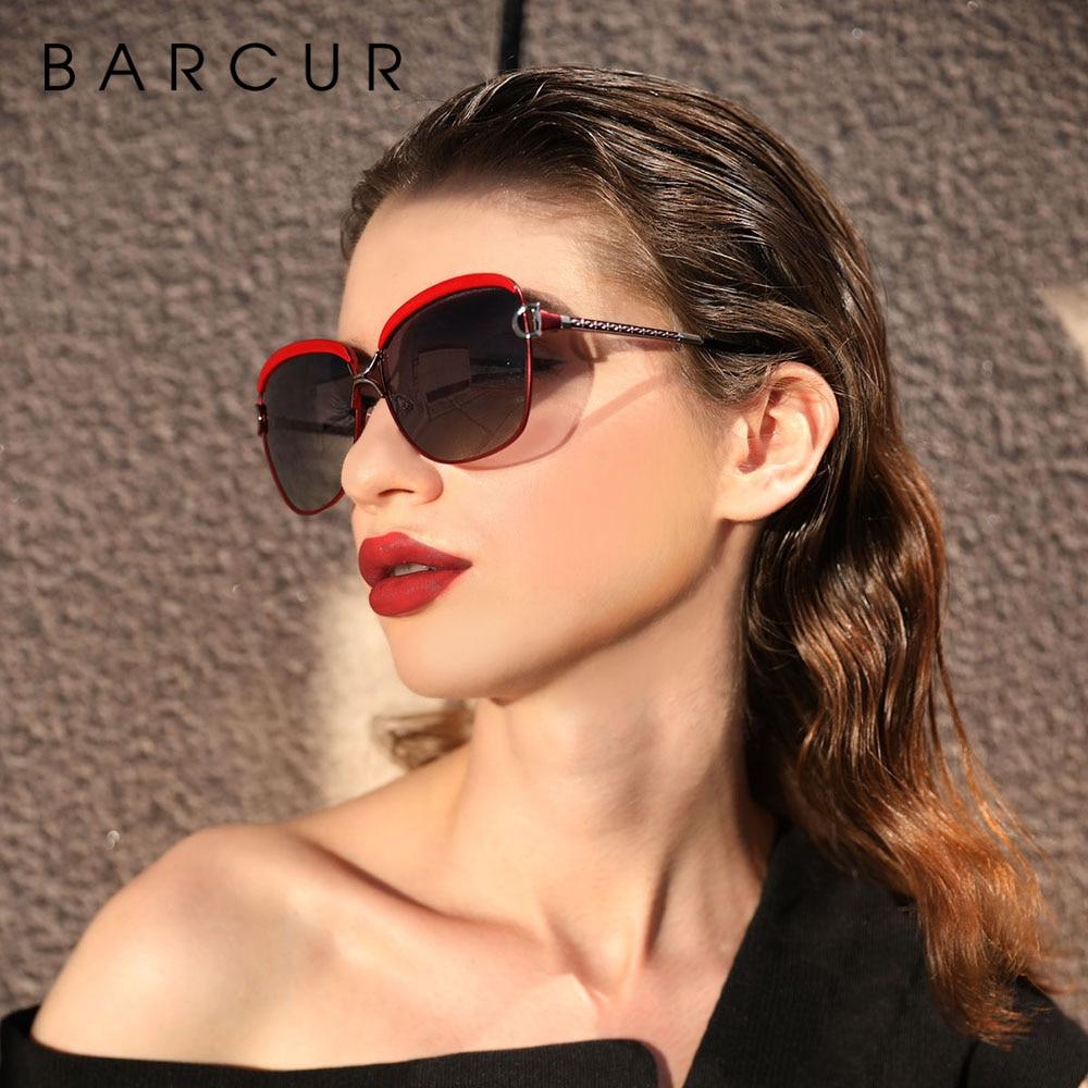 BARCUR Polarized Ladies Sunglasses Women Gradient Lens Round Sun Glasses Square Luxury Brand Oculos Lunette De Soleil Femme