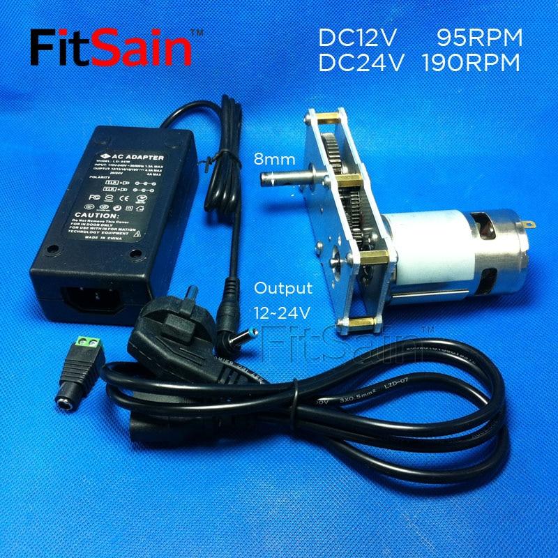 Fitكر-محول الطاقة + صندوق مخفض سرعات عزم دوران عالي 775 محرك DC12 ~ 24 فولت 95 ~ 190 دورة في الدقيقة سبيكة جير