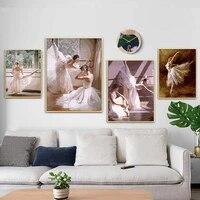 Elegant danse fille toile peinture Vintage mode mur Art affiches et impressions peinture a lhuile nordique salon decor a la maison
