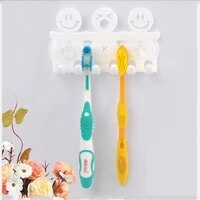 suction cup type cartoon toothbrush holder cute smiley and bear plastic toothbrush hanging suction hooks bathroom accessories