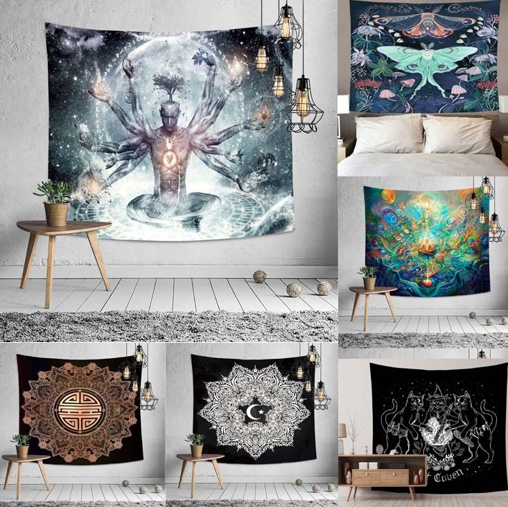 Psychedelic Mandala Tapestry Lohan Buddha Wall Hanging Mural Home Background Cloth Sun Moon Bedroom Yoga Mat Blanket Decoration