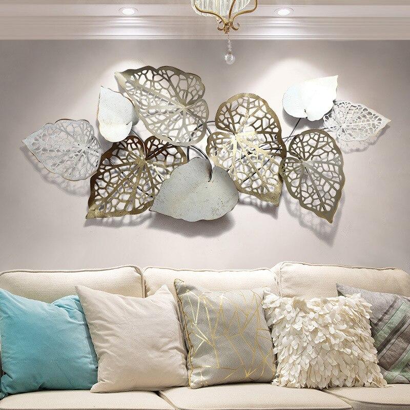 ديكور حائط لأريكة غرفة المعيشة الحديثة ، أوراق حديدية فاخرة ، إكسسوارات ديكور غرفة المعيشة الحديثة