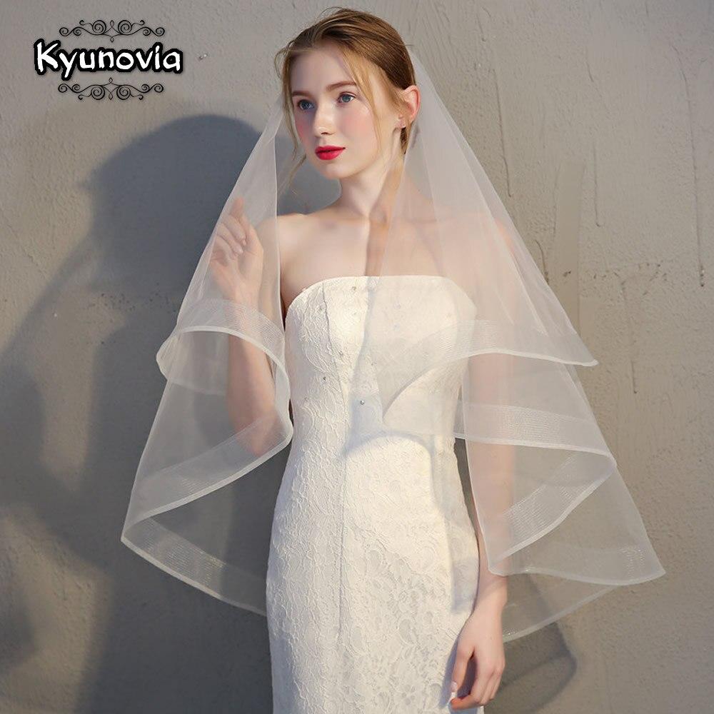 Двухслойная Фата Kyunovia, белая, цвета слоновой кости, с ленточным краем, для свадьбы, простой двухслойный короткий женский вуаль с гребнем D18