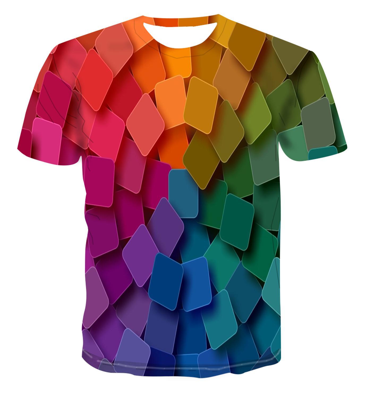 3d treliça manga curta t camisa roupas streetwear moda geométrica grade tshirt o pescoço verão tshirt masculino topos & tees eboy
