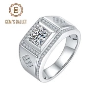 gems ballet 1 0ct round center and channel round moissanite wedding ring classic 925 sterling silver moissanite ring for men