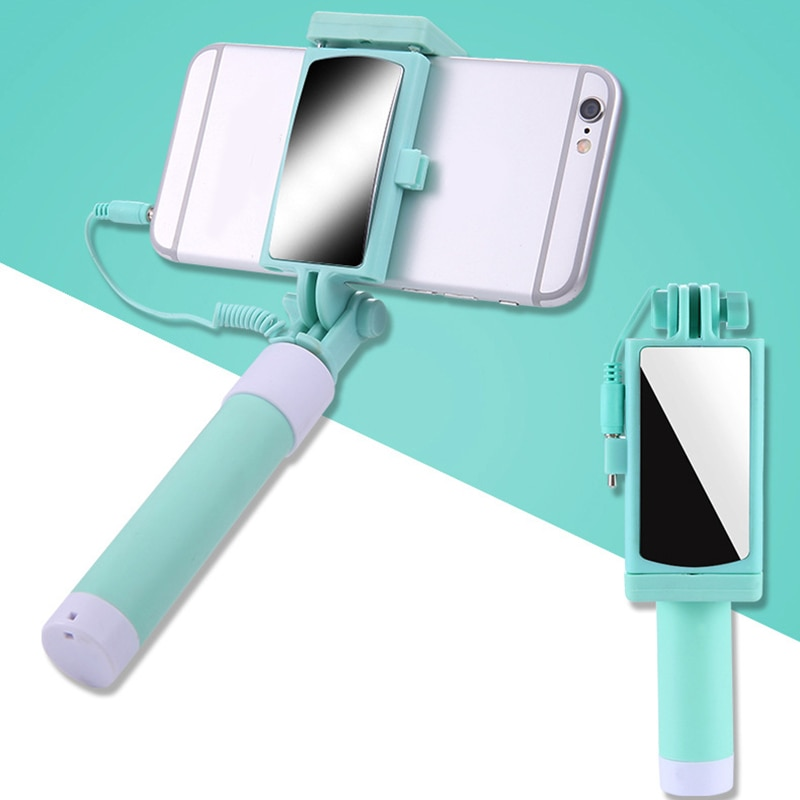 Universal Mini Selfie Stick extensible palo Selfie para teléfono con cable remoto y espejo retrovisor para teléfono yu-home