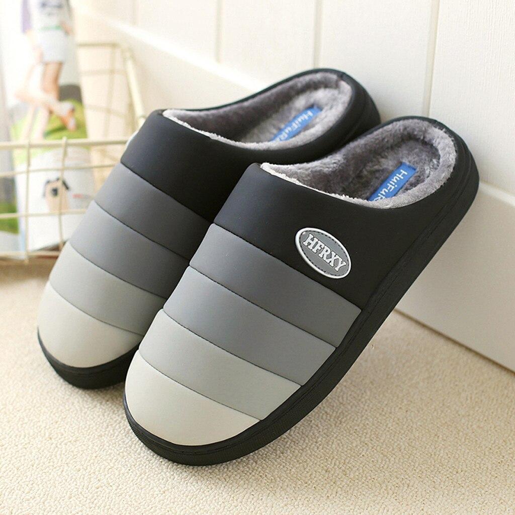 Zapatillas De invierno para hombre, calzado cálido para interiores, con piel, antideslizante,...