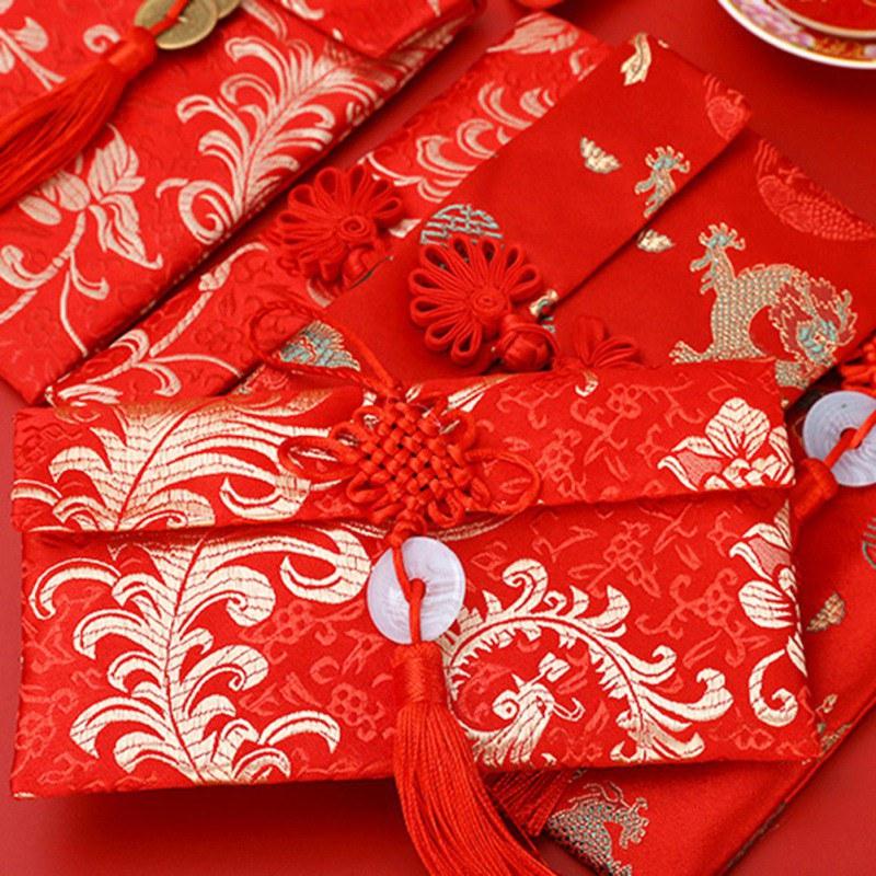 Estilo chinês envelope vermelho pano arte de alta qualidade brocado casamento borla nó dinheiro bolso saco de presente noivado feliz ano novo 2020