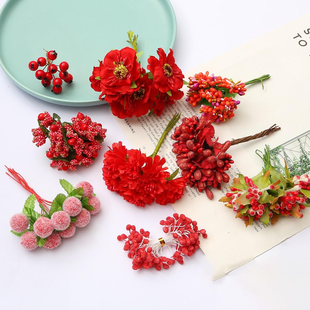 6/10/12/50/60/70/90/144/288 pçs flor amarela cereja stamen bagas pacote diy caixa de presente do bolo de casamento natal grinaldas decoração