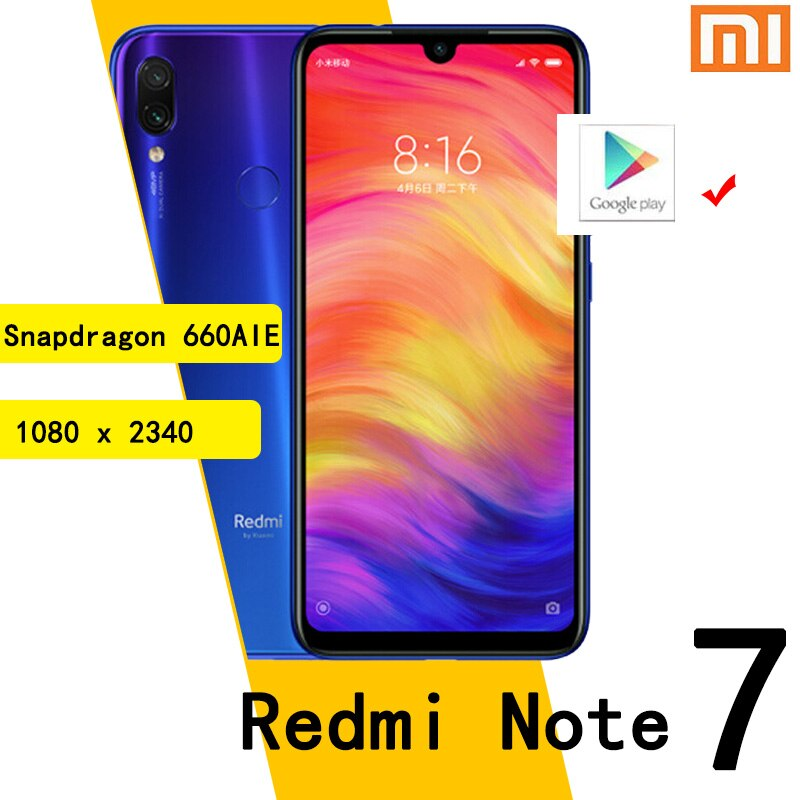 Xiaomi Redmi Note 7 smartphone 6G 64G Snapdragon 660AIE Android Mobile Phone 48.0MP+5.0MP rear camera