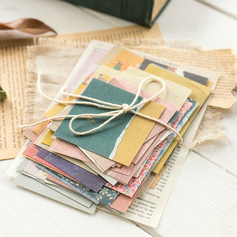 JIANWU 60pcs Ins Style Creative Small Fresh Retro Memo Basic Journal Material Paper Collage Scrapbook Stationery Back To School