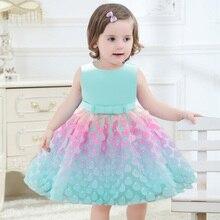 Sommer Hochzeit Floral Kleid für Baby Mädchen Prinzessin Geburtstag Erste Heilige Kommunion Abend Mädchen Baby Kleider 1 2 Jahre L1925XZ