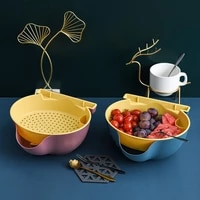 double laid back cell phone fruit tray rack with melon seed tray storage device vegetable washing fruit basket